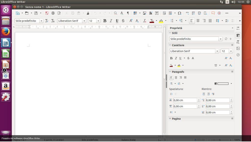 Libre office Writer Ubuntu 16.04