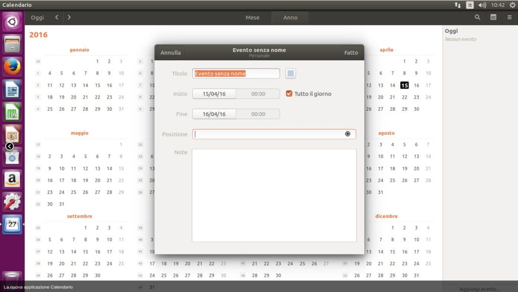 calendario ubuntu 16.04