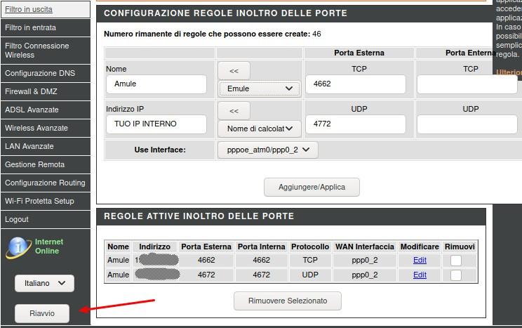 Amule Router configurazione porte e regole