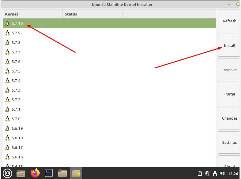 Ubuntu Mainline Kernel Installer schermata iniziale