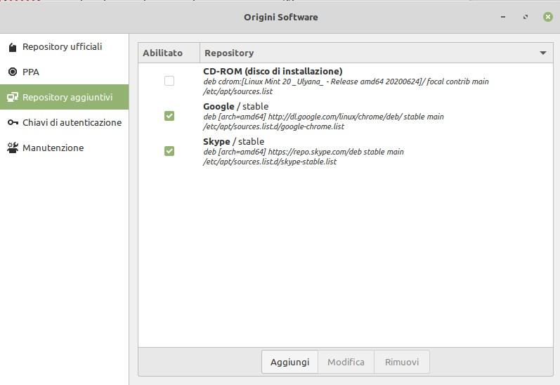 origini software elimina aggiorna ppa